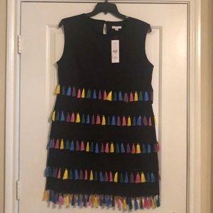 Colorful black tassel dress